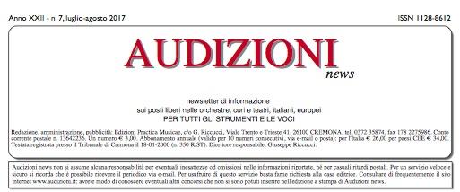 Audizioni news 7/2017