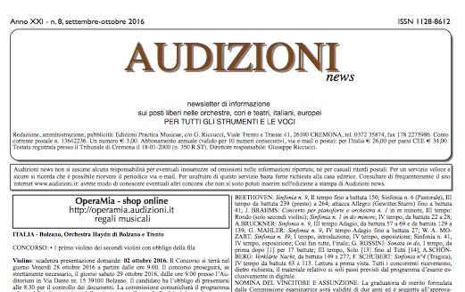 AUDIZIONI news 8/2016 (settembre-ottobre) - indice