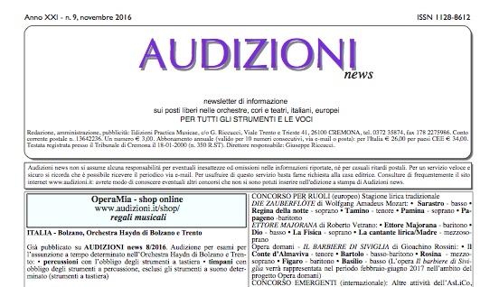 AUDIZIONI news 9/2016 (settembre-ottobre) - indiceI
