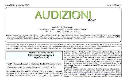 AUDIZIONI news 5/2016 (maggio) - indice