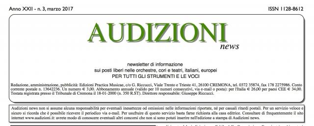 AUDIZIONI news, newsletter di informazione