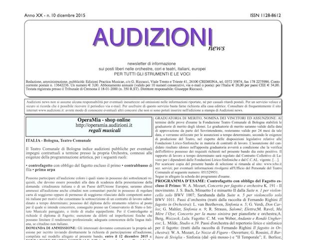 AUDIZIONI news 10/2015 (dicembre) - indice