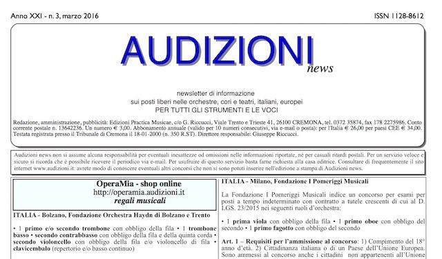 AUDIZIONI news 3/2016 (marzo) - indice